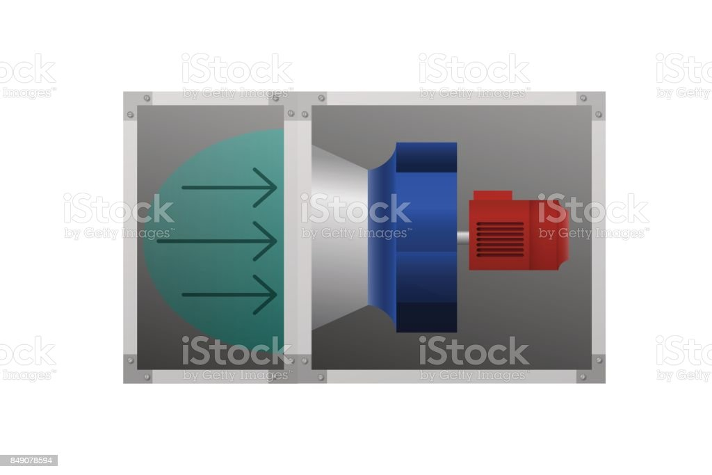Image of air flow at the fan. vector art illustration