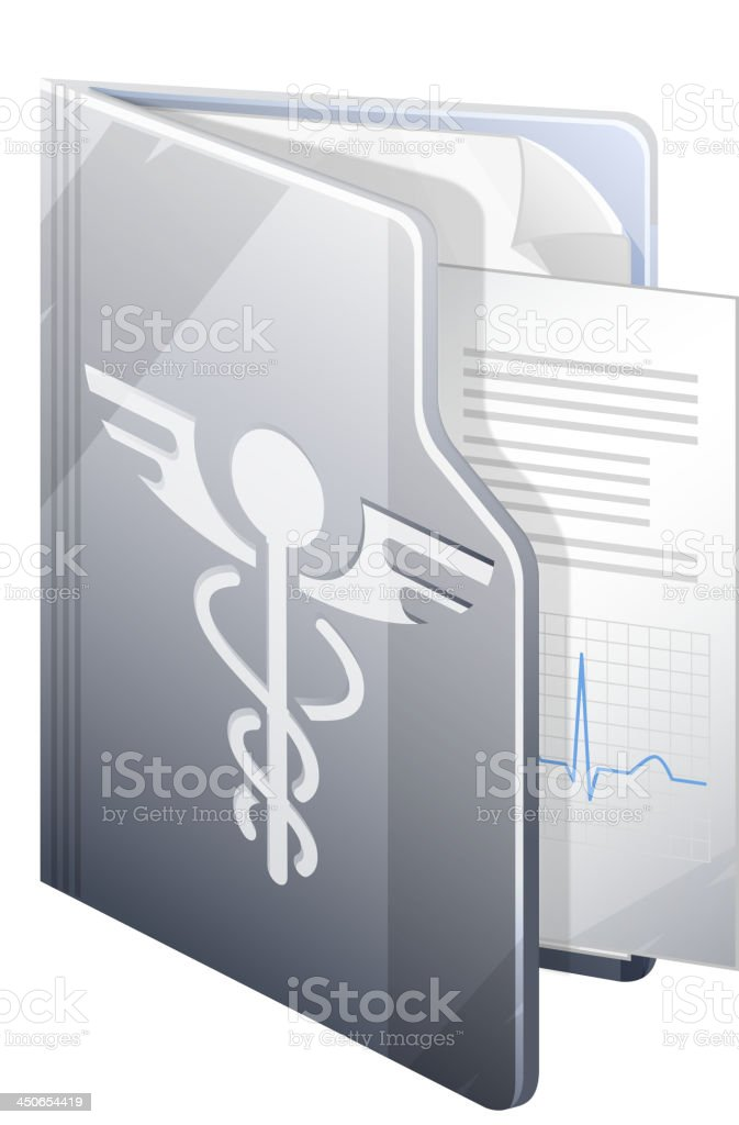 3-D image of an open medical report vector art illustration
