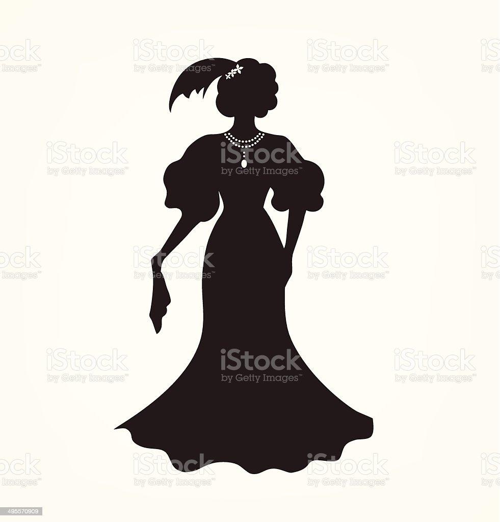 Image of aristocratic woman vector art illustration