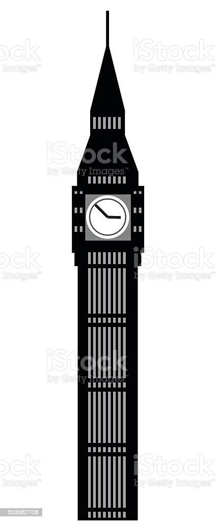 Image of cartoon Big Ben clock silhouette. Vector illustration vector art illustration