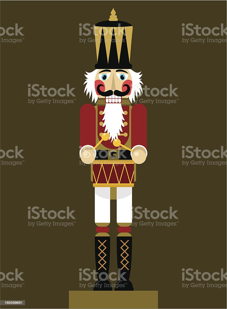Image of classic nutcracker on dark brown background royalty-free stock vector art