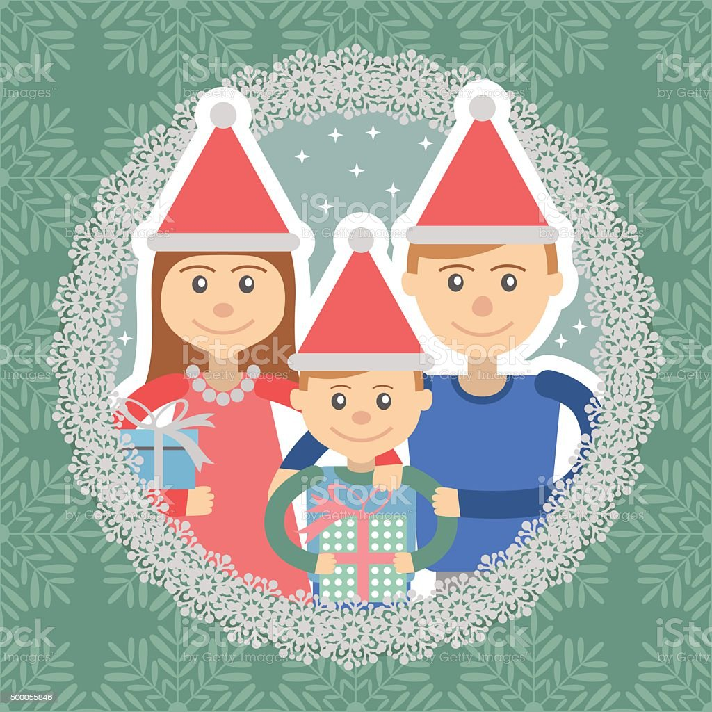 Image of  family in round frame on snowflakes background . vector art illustration