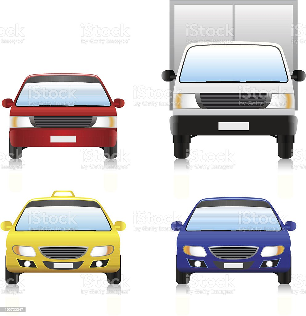 Image of four different types of common road vehicles royalty-free stock vector art