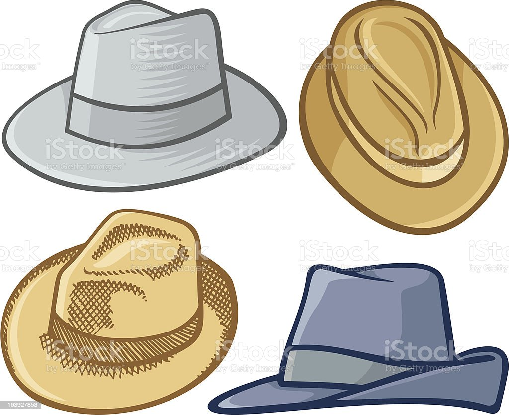 Image of four fedora hat in different styles vector art illustration