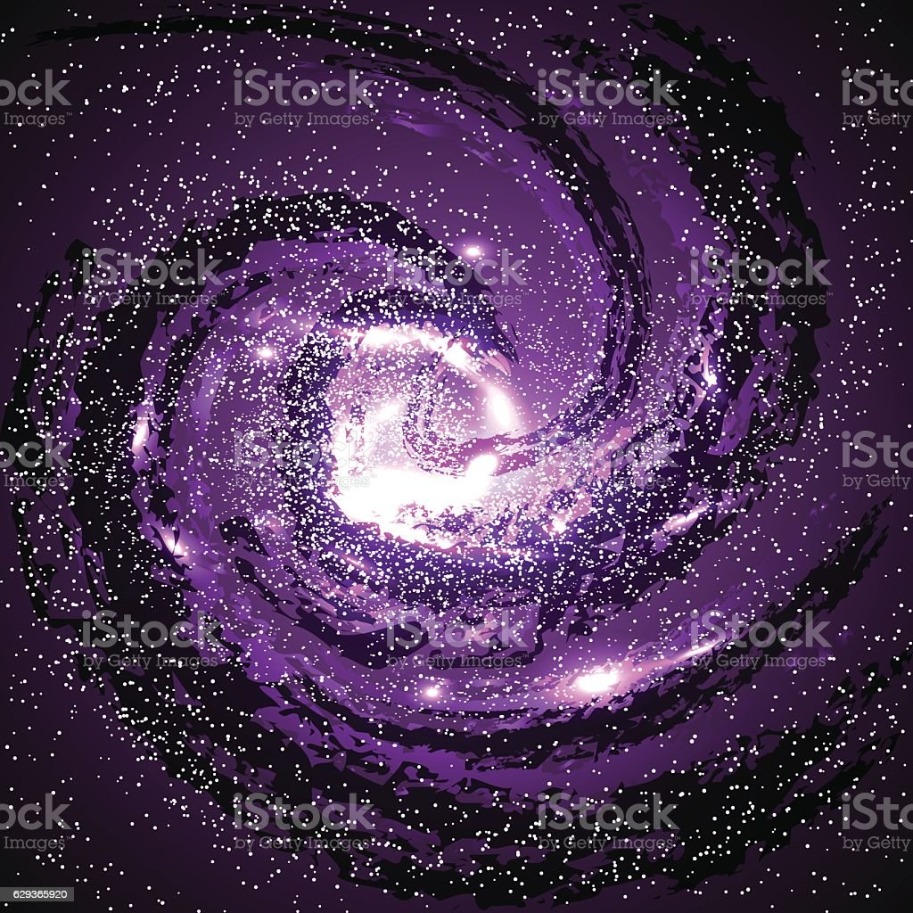 Image of galaxies, nebulae, cosmos, and effect tunnel spiral vector art illustration