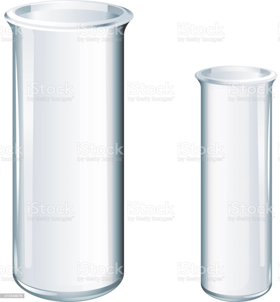 Image of glass chemical tubes in two sizes royalty-free stock vector art