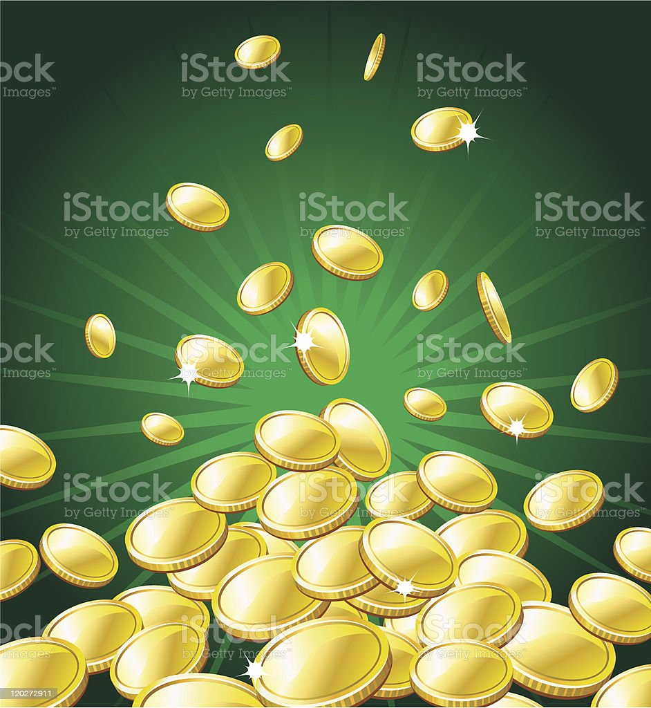 Image of gold coins falling with a green background vector art illustration
