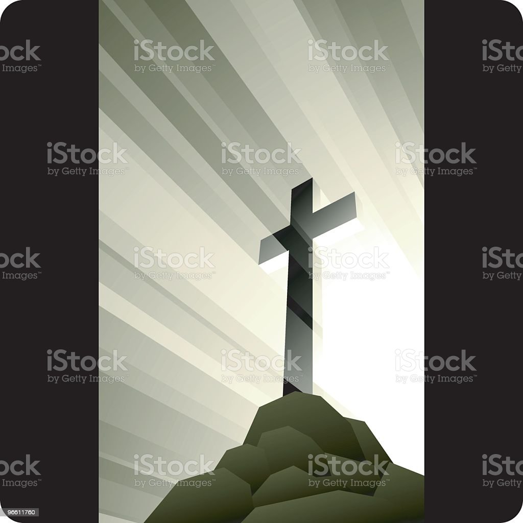 Image of golden cross on top of a hill vector art illustration