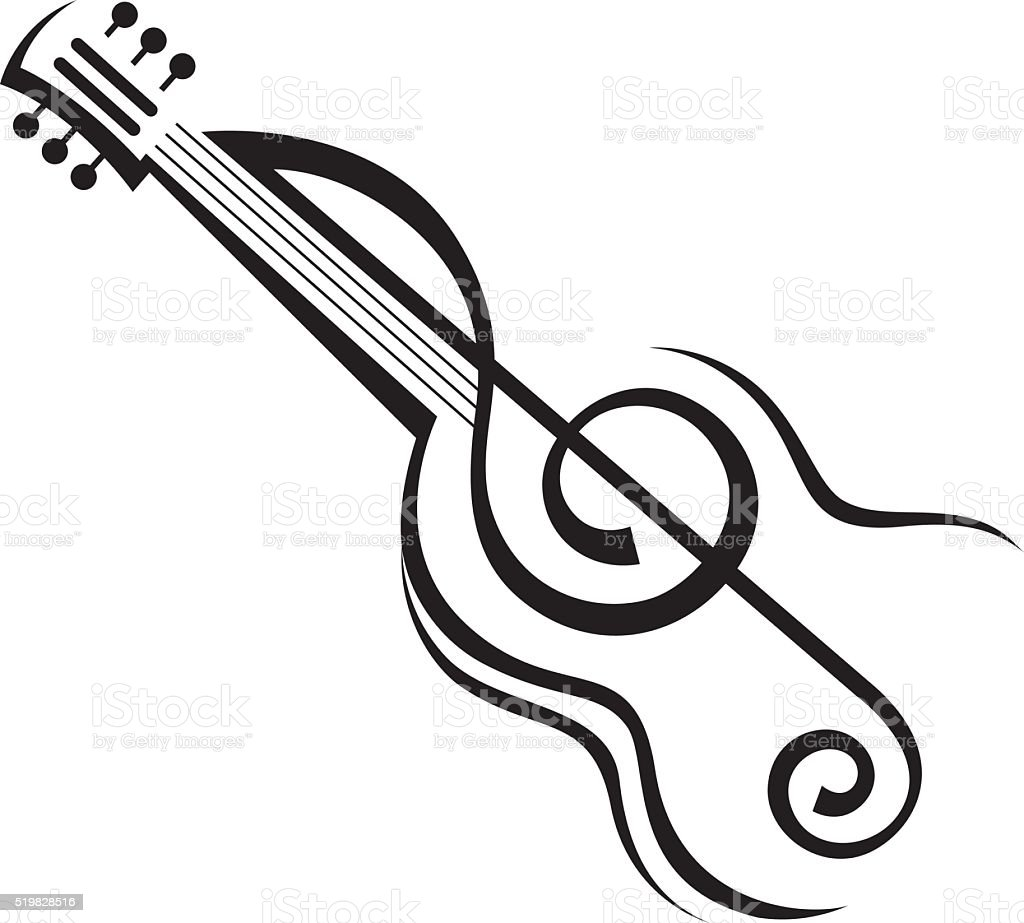 image of guitar vector art illustration
