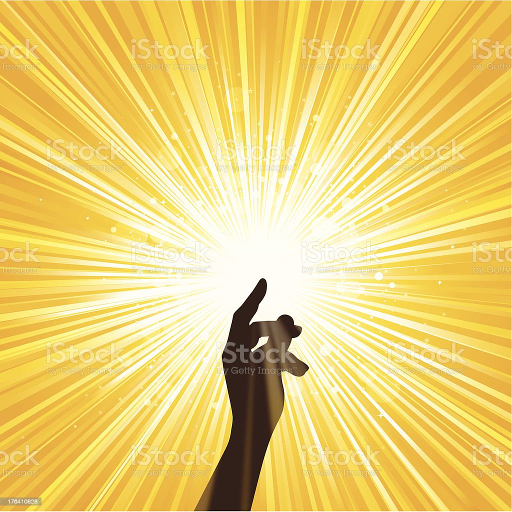 Image of hand spreading yellow light vector art illustration