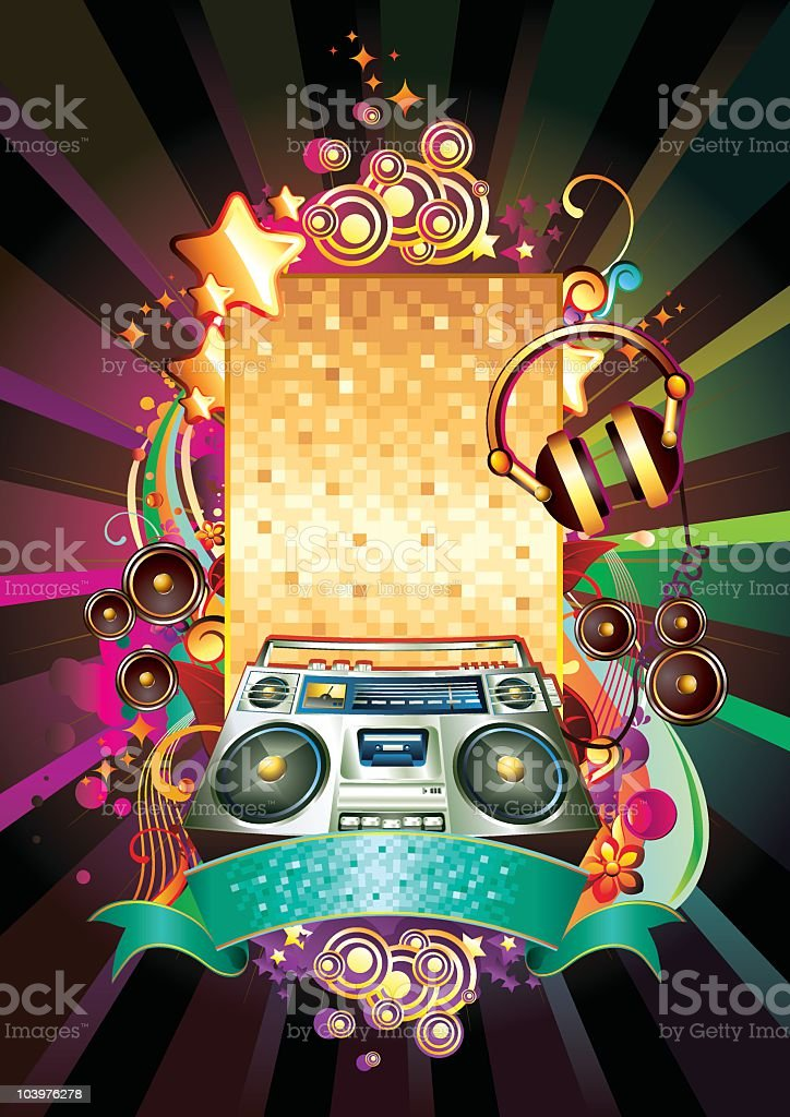 Image of items needed for a boombox party royalty-free stock vector art