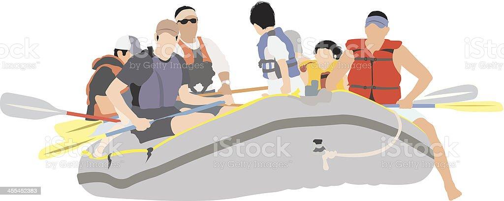 Image of people rafting vector art illustration
