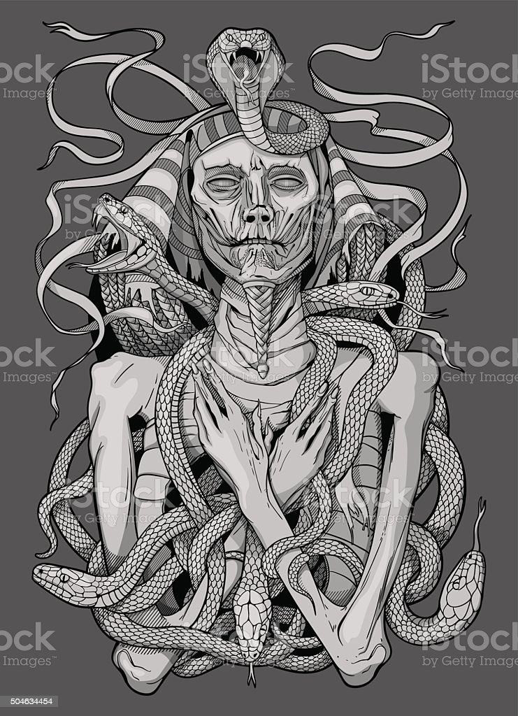 image of pharaoh mummy with snakes vector art illustration