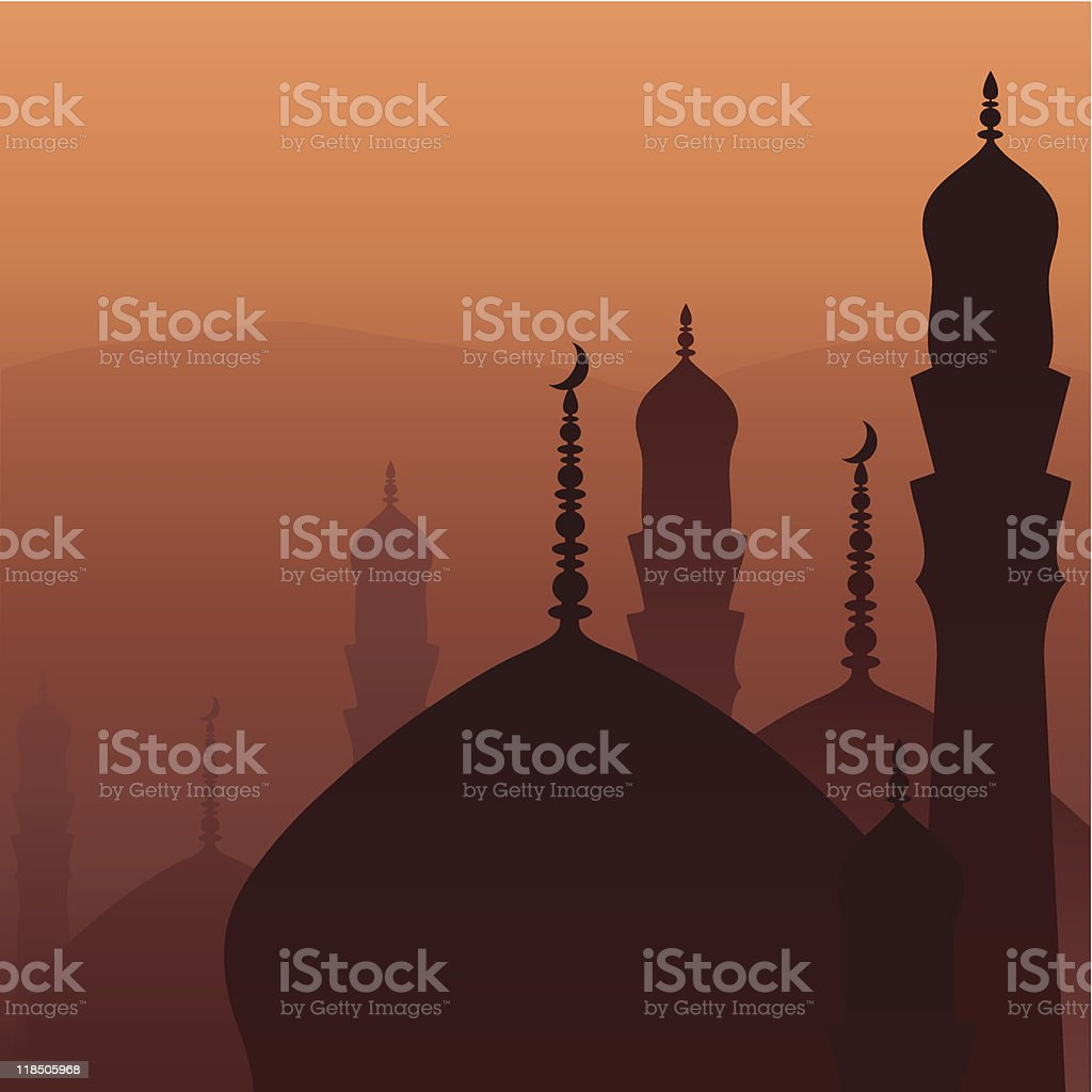 Image of silhouettes of tops of Arabian buildings at sunset royalty-free stock vector art