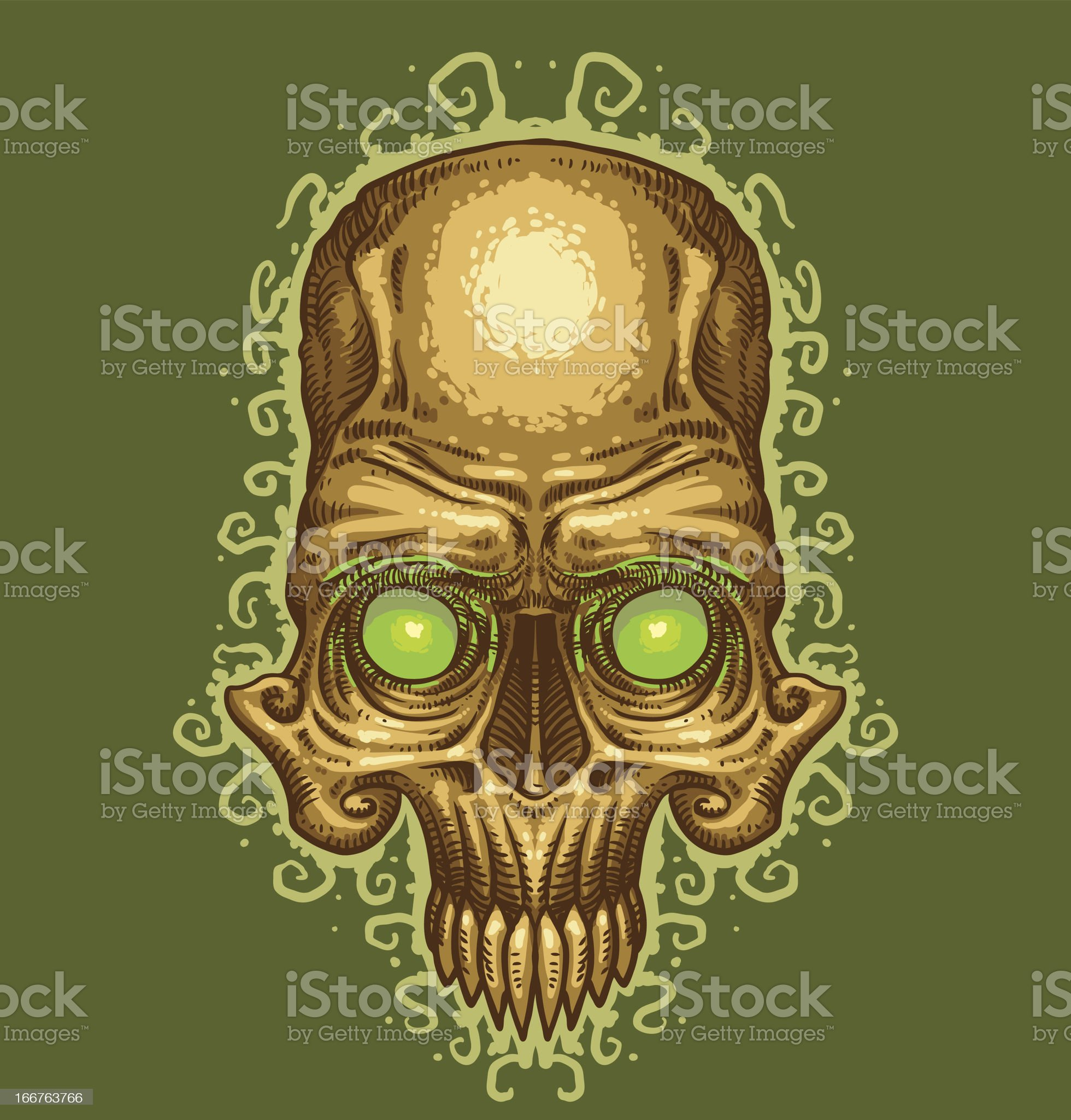 Image of skull with green eyes like a tattoo royalty-free stock vector art