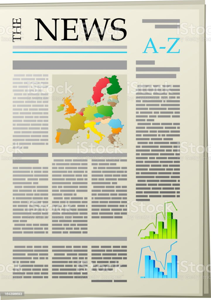 Image of the front page of a newspaper royalty-free stock vector art