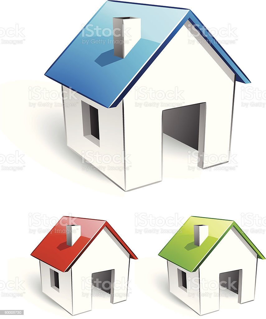 Image of three simple houses with different roof colors royalty-free stock vector art