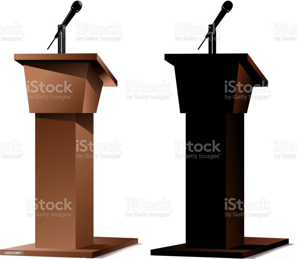A 3D image of two podiums on white vector art illustration