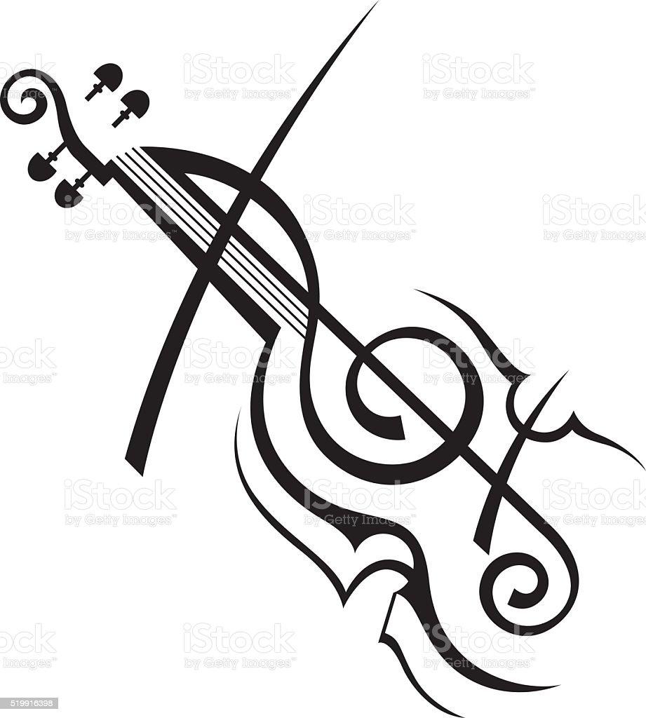 image of violin vector art illustration