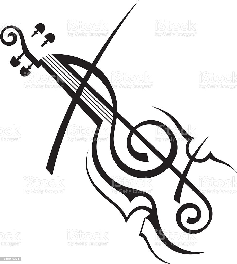 image of violin vector art illustration