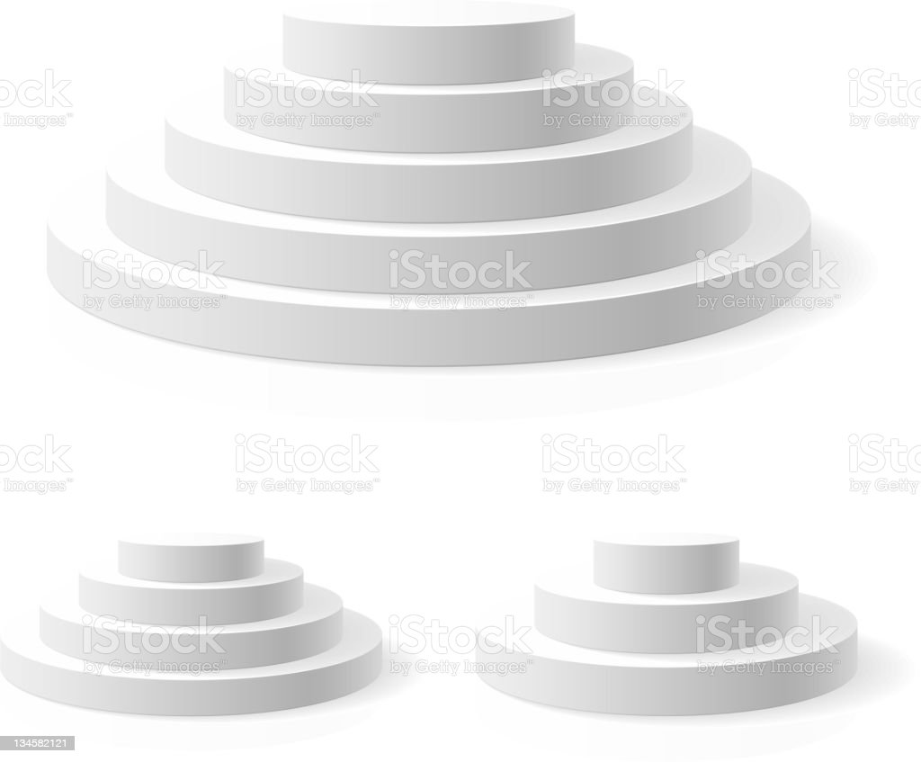 3D image of white ring podium with multiple tiers royalty-free stock vector art