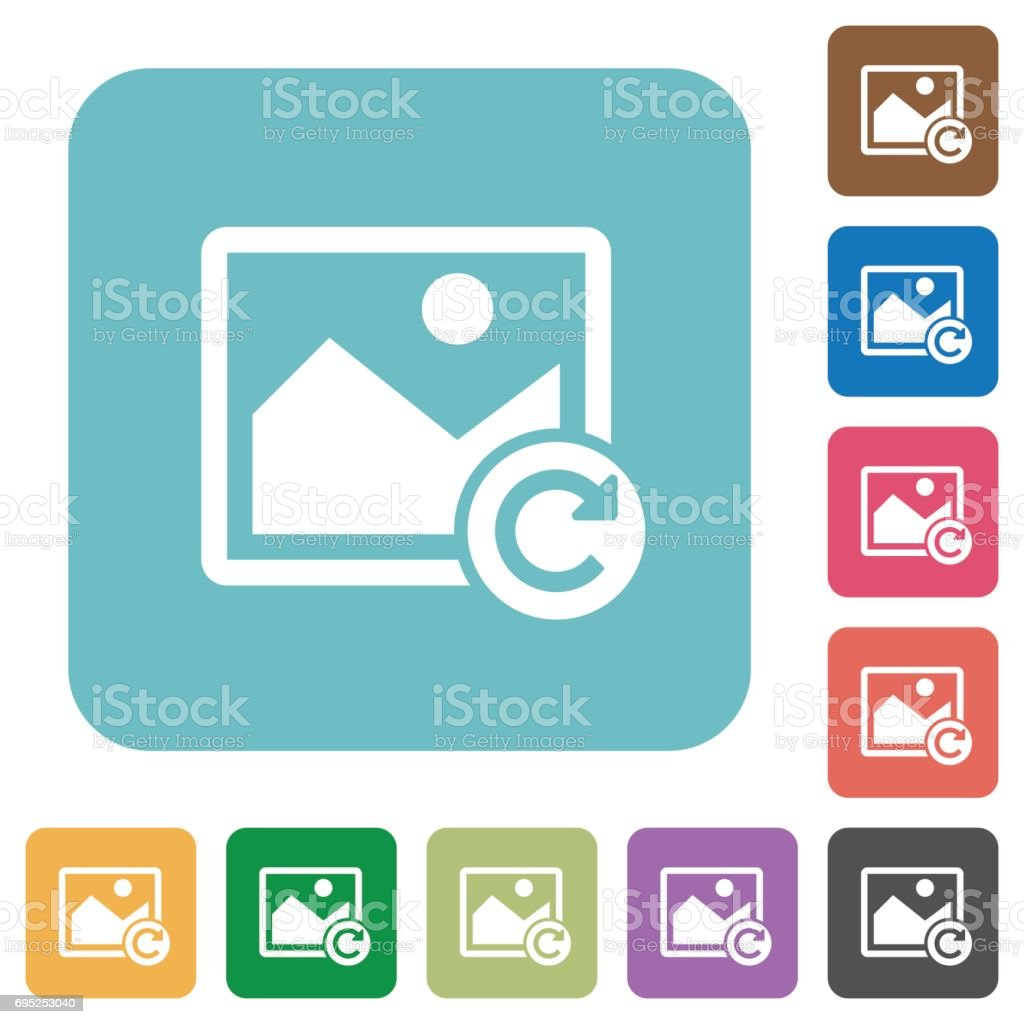 Image rotate right rounded square flat icons vector art illustration