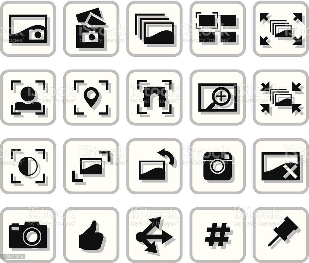 Image Sharing Icons vector art illustration