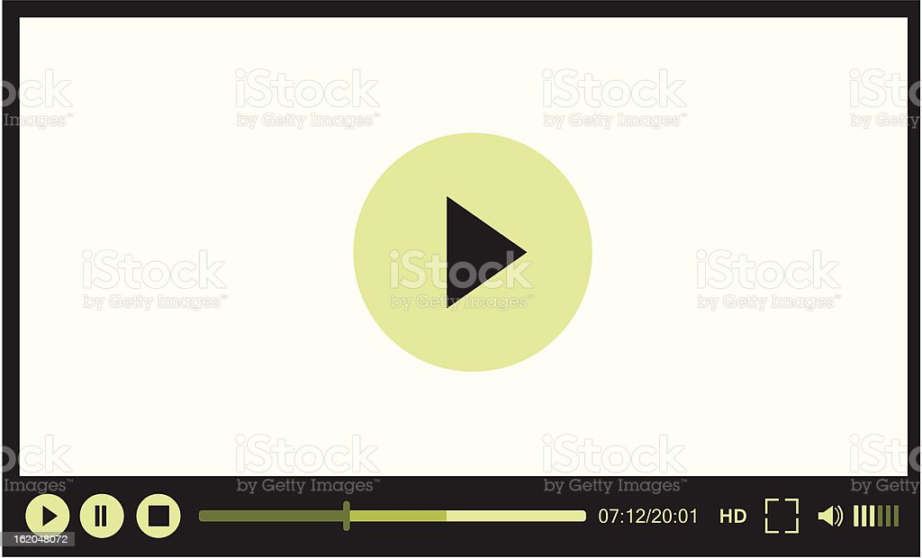 Image view of a video player for web that is paused vector art illustration