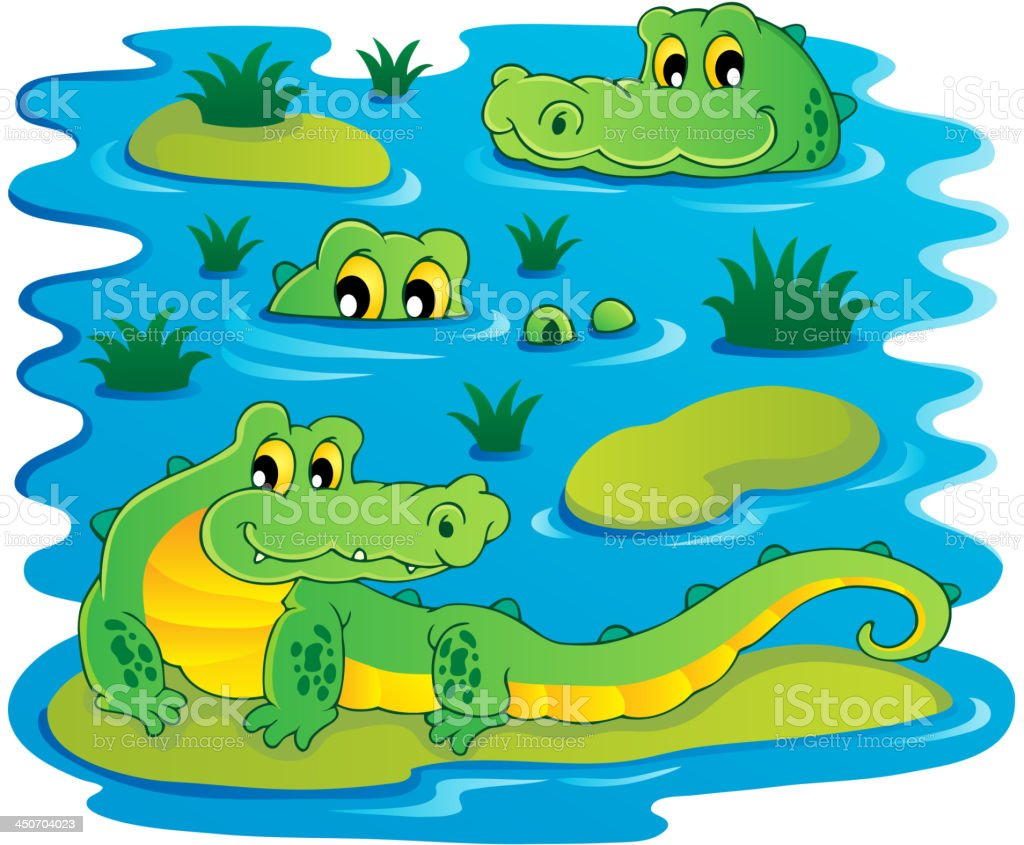 Image with crocodile theme 1 royalty-free stock vector art