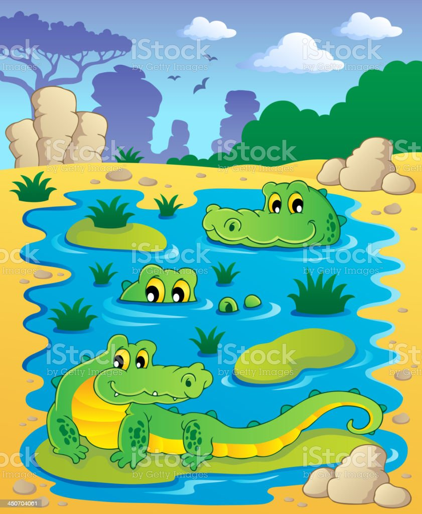 Image with crocodile theme 2 royalty-free stock vector art