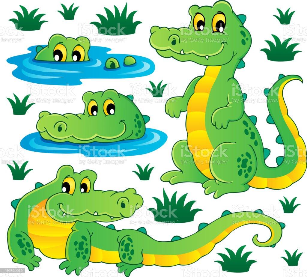 Image with crocodile theme 3 royalty-free stock vector art