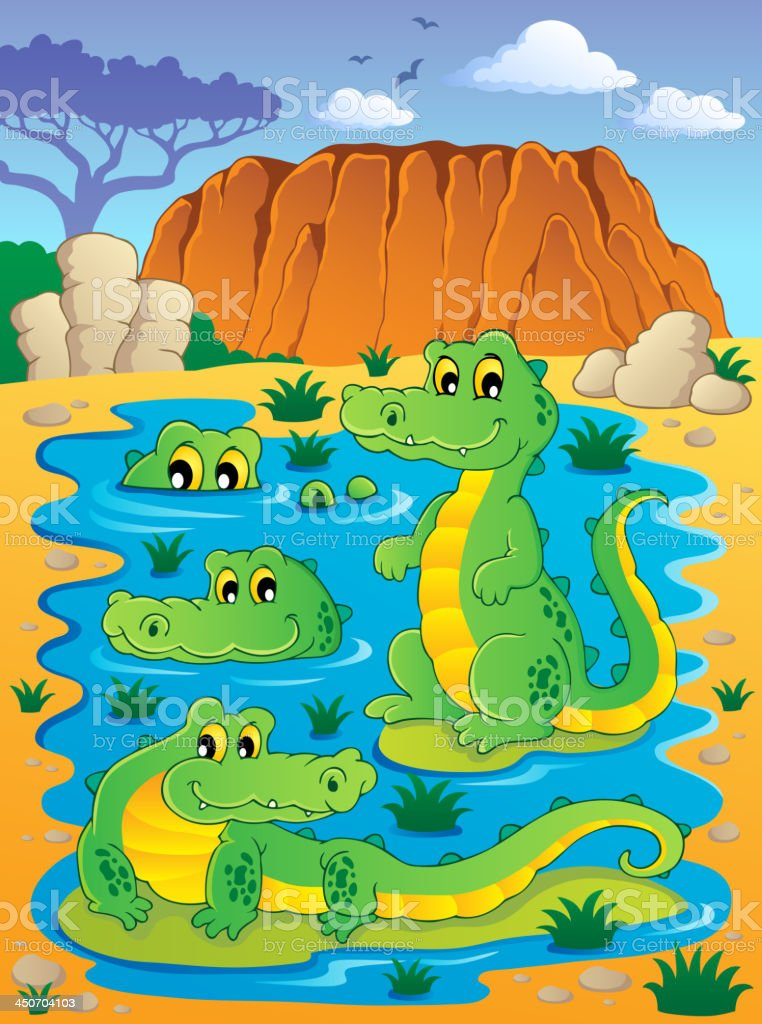 Image with crocodile theme 4 royalty-free stock vector art