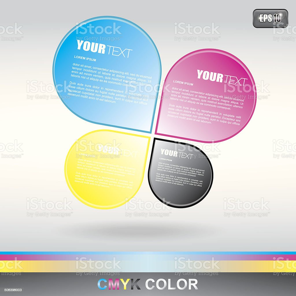 CMYK image with drop text boxes royalty-free stock vector art