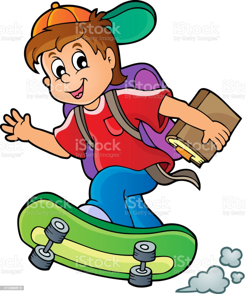 Image with school boy theme 1 vector art illustration