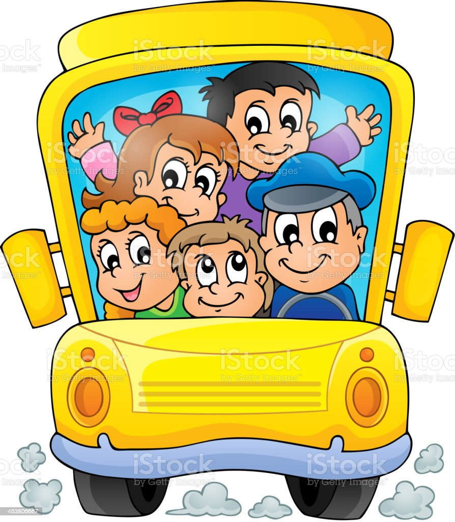 Image with school bus theme 1 royalty-free stock vector art