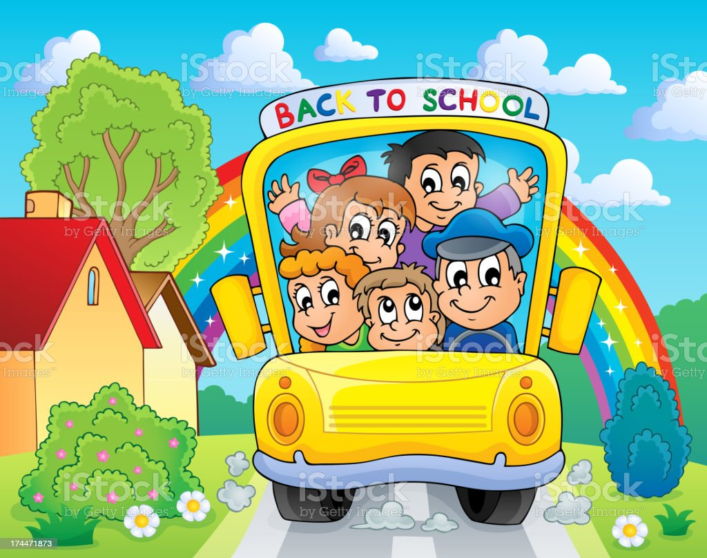 Image with school bus theme 4 royalty-free stock vector art