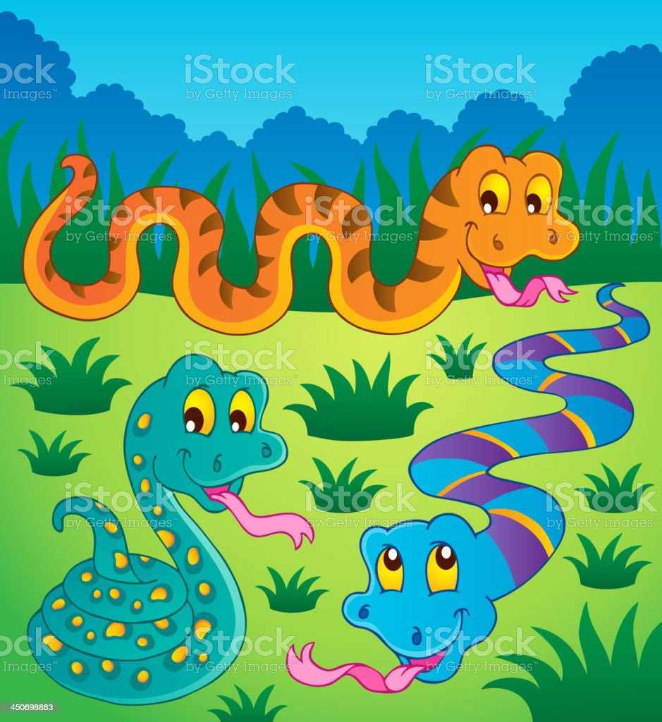 Image with snake theme 1 vector art illustration
