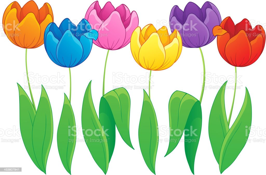 Image with tulip flower theme 2 royalty-free stock vector art