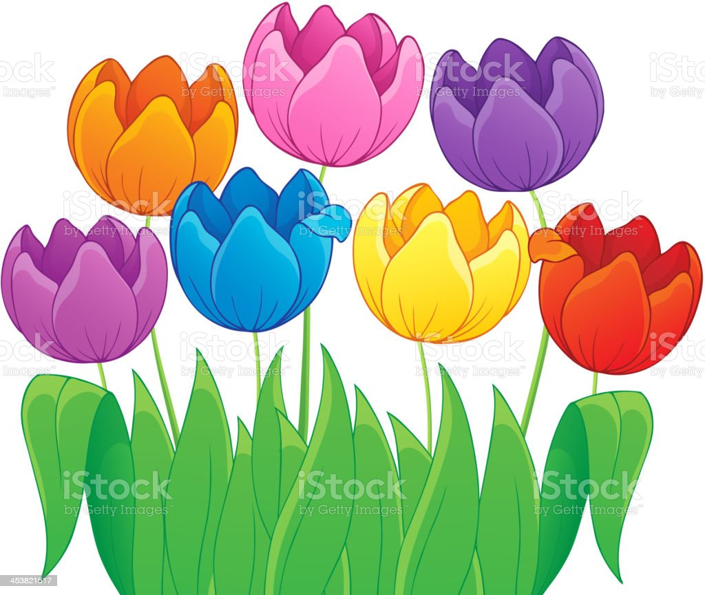 Image with tulip flower theme 4 royalty-free stock vector art