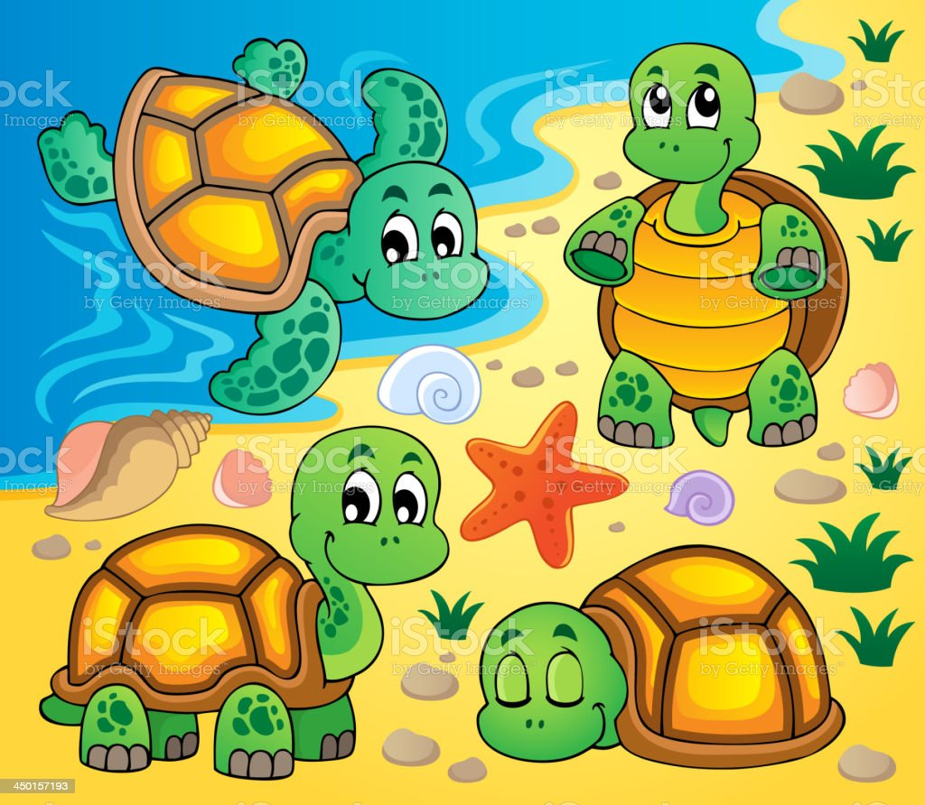 Image with turtle theme 2 royalty-free stock vector art