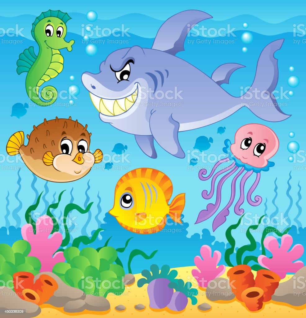 Image with undersea theme 3 royalty-free stock vector art