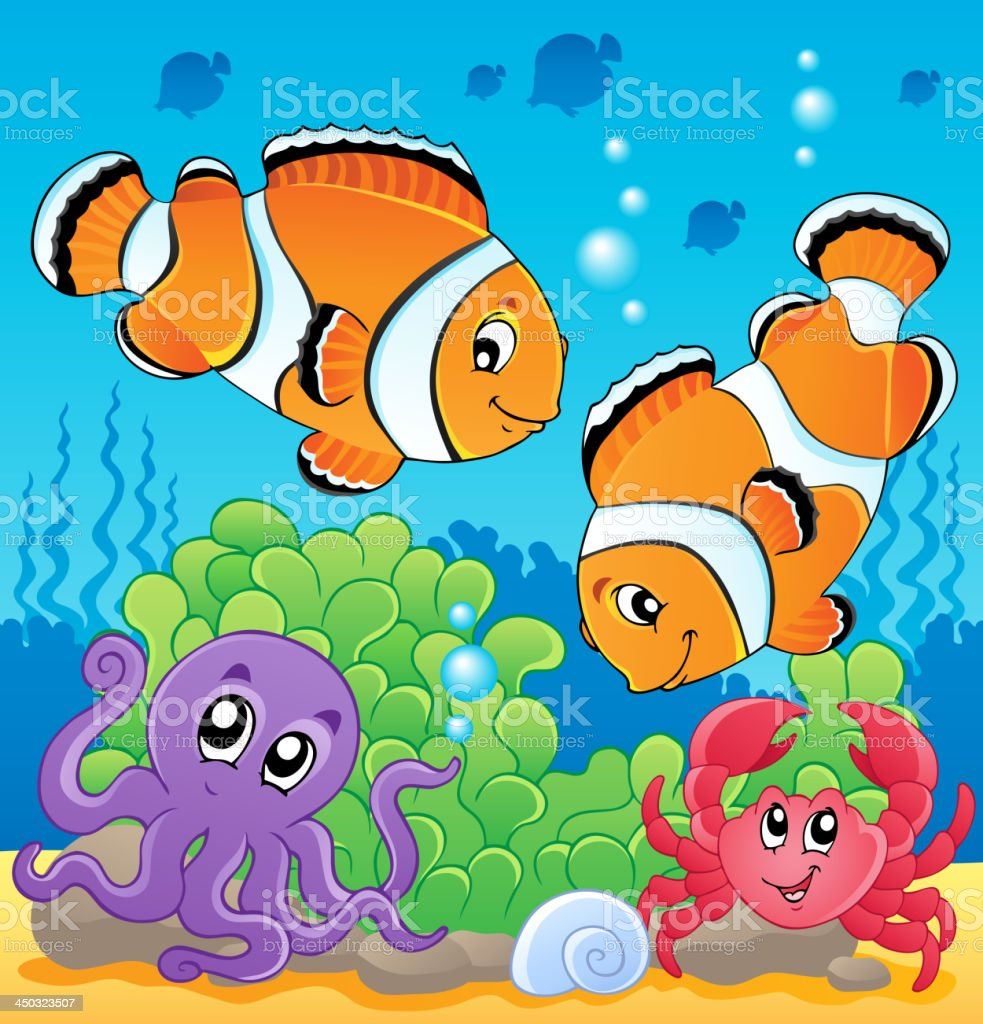 Image with undersea theme 4 royalty-free stock vector art