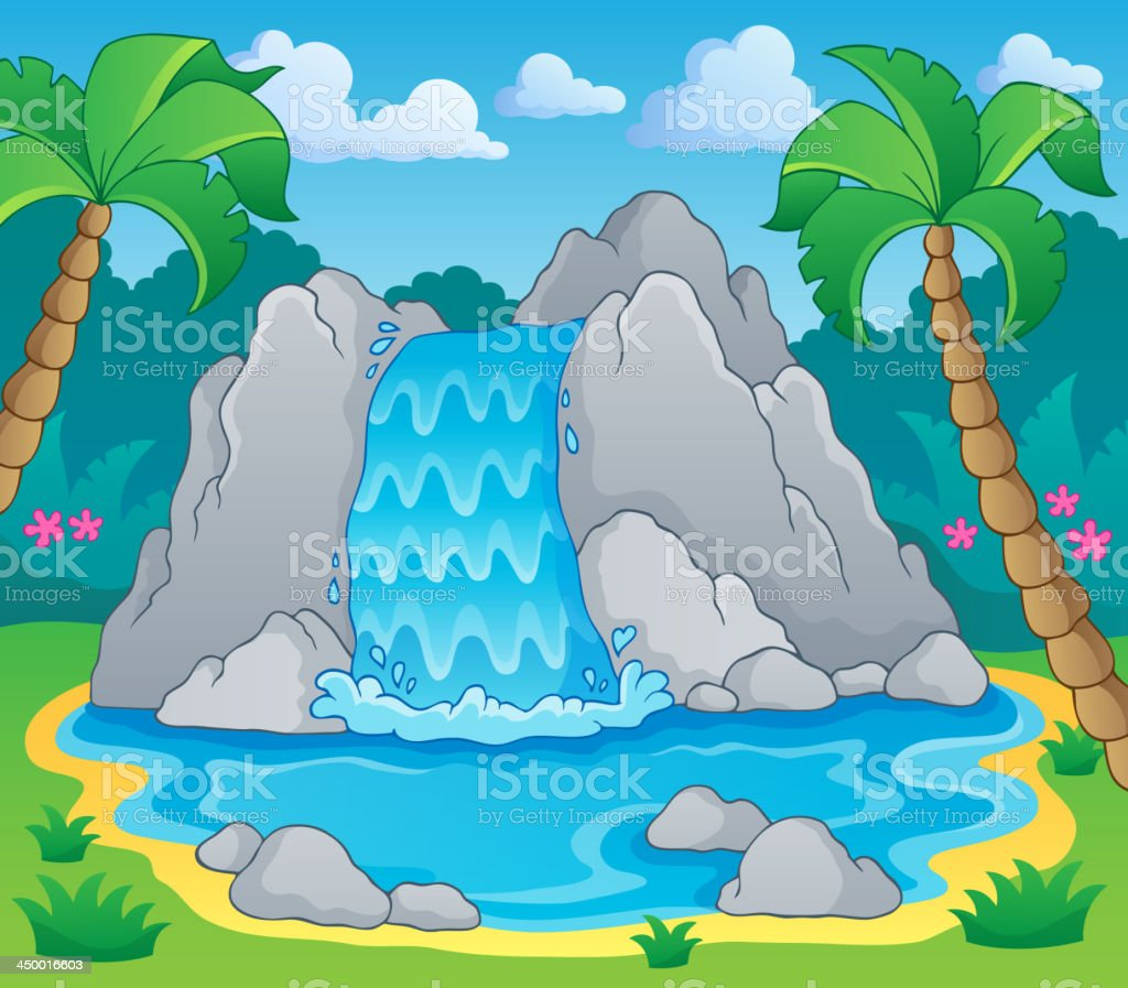 Image with waterfall theme 2 royalty-free stock vector art