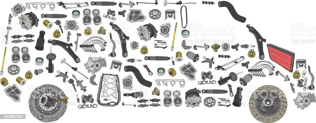 Images bus from new spare parts vector art illustration
