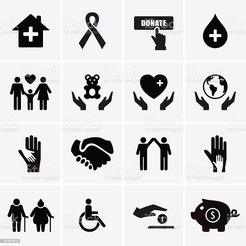 Images of charity and relief symbols in boxes vector art illustration