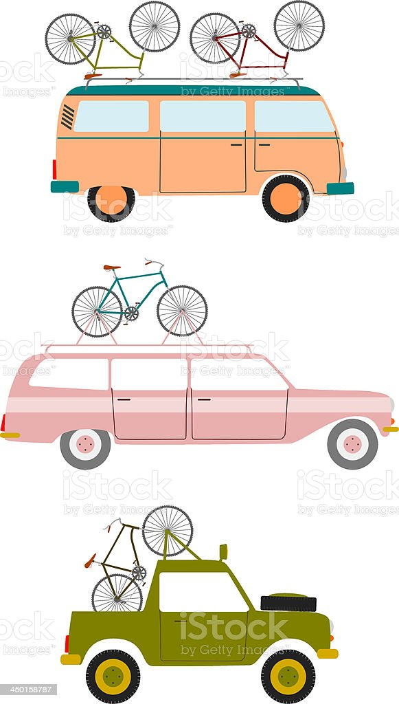 Images of three different types of land vehicles vector art illustration