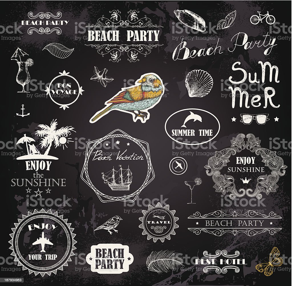Images representing the summer on a black background royalty-free stock vector art