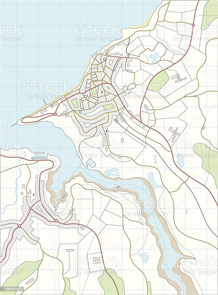 Imaginary map vector art illustration