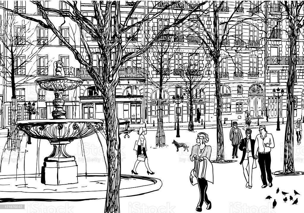 imaginary square in Paris royalty-free stock vector art