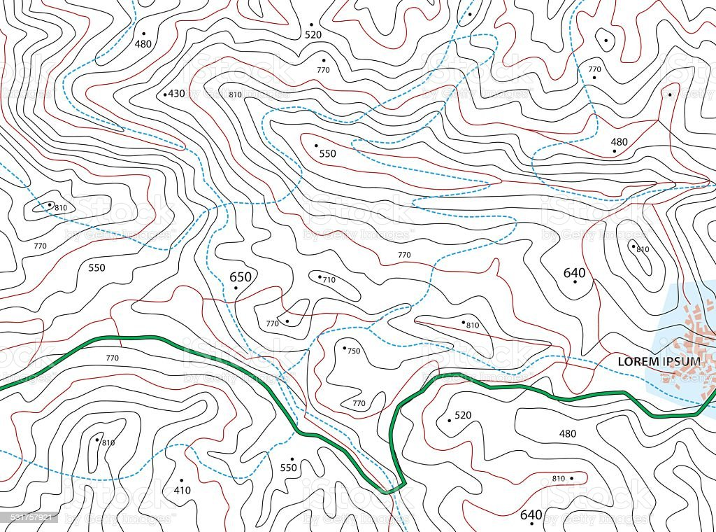 Imaginary Topographic Map vector art illustration
